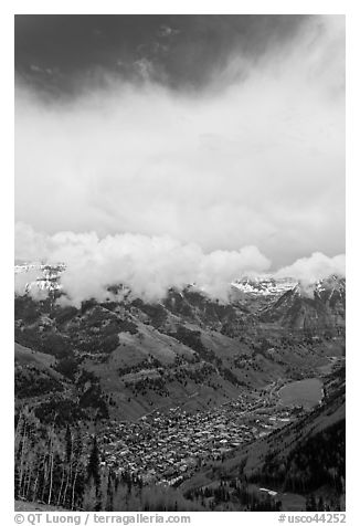 Valley and town seen from above in spring. Telluride, Colorado, USA (black and white)
