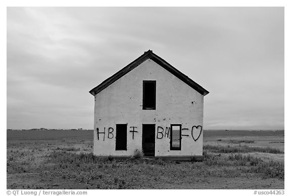 Abandoned house with graffiti, Mosca. Colorado, USA (black and white)