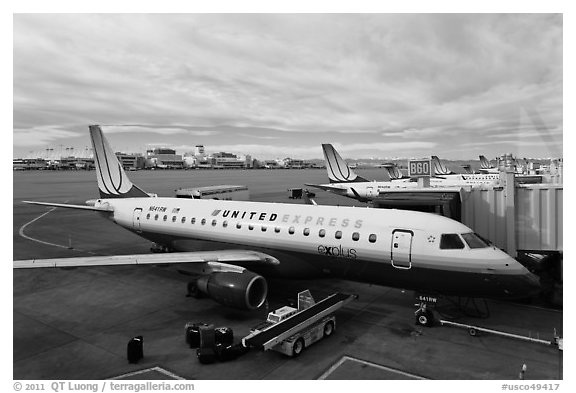 Regional planes, Denver International Airport. Colorado, USA (black and white)
