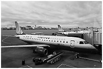 Regional planes, Denver International Airport. Colorado, USA ( black and white)