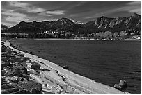 Lake Estes, late winter. Colorado, USA ( black and white)