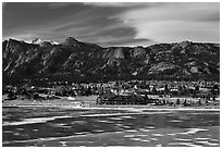 Partly thawed Lake Estes, Estes Park. Colorado, USA ( black and white)