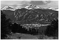 View of town nested below Rocky Mountains, Estes Park. Colorado, USA ( black and white)