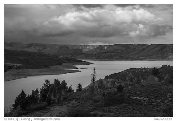 Autumn at Sapinero Basin, Blue Mesa Reservoir, Curecanti National Recreation Area. Colorado, USA (black and white)