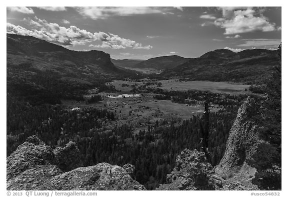 Rocks and valley with autumn colors, Pagosa Springs. Colorado, USA (black and white)