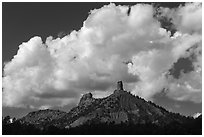Clouds over Cimarron Range. Chimney Rock National Monument, Colorado, USA ( black and white)