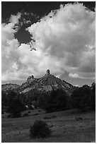 Afternoon clouds over rocks. Chimney Rock National Monument, Colorado, USA ( black and white)