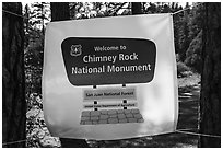 Temporary sign after new designation. Chimney Rock National Monument, Colorado, USA ( black and white)