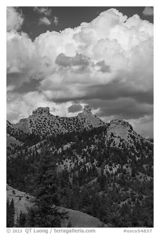 Chimney Rock and Companion Rock. Chimney Rock National Monument, Colorado, USA (black and white)