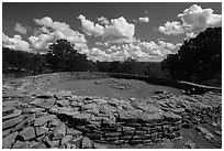 Great Kiva. Chimney Rock National Monument, Colorado, USA ( black and white)