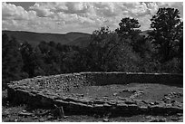 Archeological ruins. Chimney Rock National Monument, Colorado, USA ( black and white)