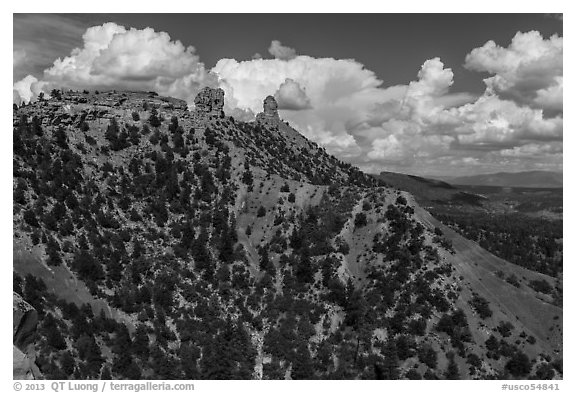 Spires of Cretaceous Period. Chimney Rock National Monument, Colorado, USA (black and white)