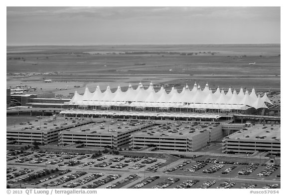 Aerial view of Denver International Airport main concourse. Colorado, USA (black and white)
