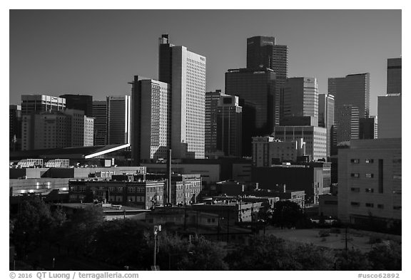 Historic buildings and dowtown skyline. Denver, Colorado, USA (black and white)