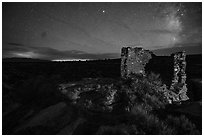 Tower Point at night. Hovenweep National Monument, Colorado, USA ( black and white)