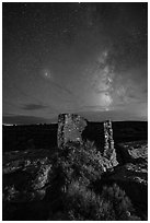Milky Way over Tower Point at night. Hovenweep National Monument, Colorado, USA ( black and white)