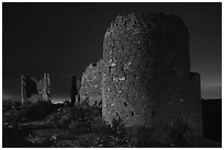 Hovenweep Castle at night. Hovenweep National Monument, Colorado, USA ( black and white)