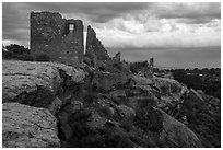 Hovenweep Castle and canyon rim. Hovenweep National Monument, Colorado, USA ( black and white)