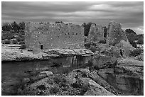 Hovenweep Castle across canyon. Hovenweep National Monument, Colorado, USA ( black and white)