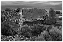 Hovenweep House and Hovenweep Castle. Hovenweep National Monument, Colorado, USA ( black and white)