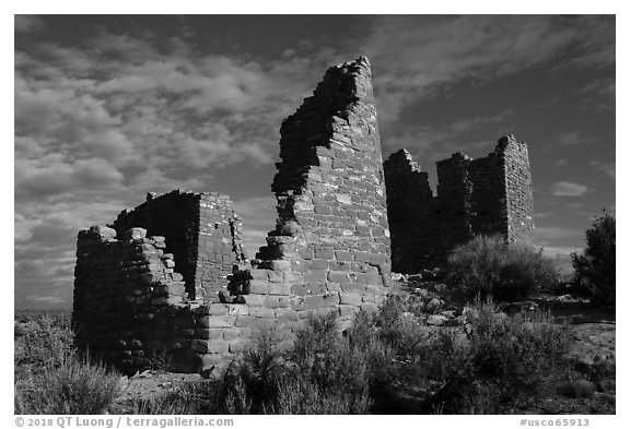 Hovenweep Castle. Hovenweep National Monument, Colorado, USA (black and white)