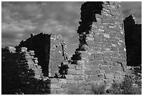 Hovenweep Castle walls. Hovenweep National Monument, Colorado, USA ( black and white)