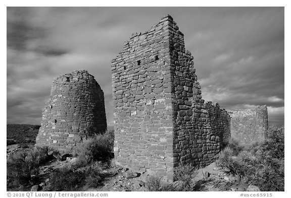 Hovenweep Castle with tower. Hovenweep National Monument, Colorado, USA (black and white)