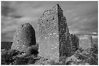 Hovenweep Castle with tower. Hovenweep National Monument, Colorado, USA ( black and white)