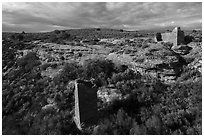 Square Tower and Hovenweep House. Hovenweep National Monument, Colorado, USA ( black and white)