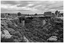 Little Ruin Canyon with Square Tower and Hovenweep House. Hovenweep National Monument, Colorado, USA ( black and white)