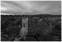 Stronghold House, sunrise. Hovenweep National Monument, Colorado, USA ( black and white)