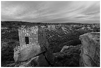 Stronghold House and Little Ruin Canyon, sunrise. Hovenweep National Monument, Colorado, USA ( black and white)