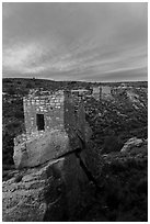 Stronghold House, Twin Towers, Hovenweep House, and Eroded Boulder House, sunrise. Hovenweep National Monument, Colorado, USA ( black and white)