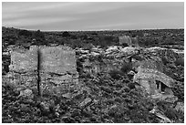 Twin Towers, Hovenweep House, and Eroded Boulder House. Hovenweep National Monument, Colorado, USA ( black and white)
