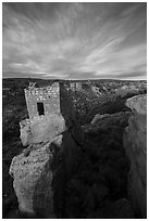 Stronghold House on rim of Little Ruin Canyon. Hovenweep National Monument, Colorado, USA ( black and white)