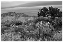 Lower House wall with Mesa Verde in background. Yucca House National Monument, Colorado, USA ( black and white)