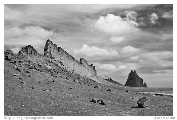 Golden wall and Shiprock. Shiprock, New Mexico, USA (black and white)