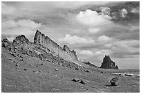 Golden wall and Shiprock. Shiprock, New Mexico, USA ( black and white)