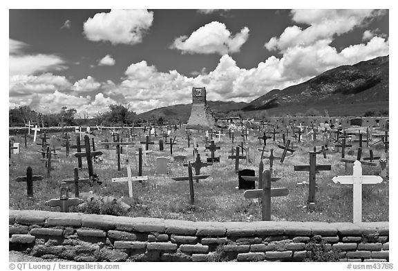 Black and White Picture/Photo: Cemetery and old church ...