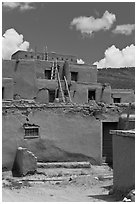 Multi-story adobe house. Taos, New Mexico, USA ( black and white)