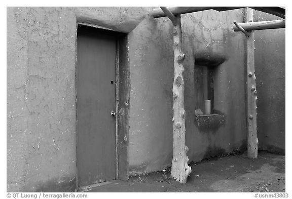 Door and window. Taos, New Mexico, USA (black and white)