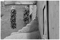 Ristras, adobe walls, and blue window. Taos, New Mexico, USA (black and white)