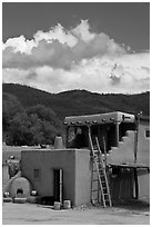 Pueblo house. Taos, New Mexico, USA ( black and white)