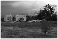 Adobe house on the reservation. Taos, New Mexico, USA ( black and white)