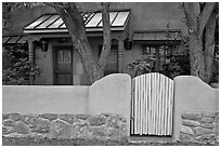 Residential front yard. Taos, New Mexico, USA ( black and white)