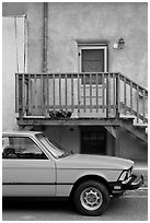 Car and adobe house detail. Taos, New Mexico, USA ( black and white)