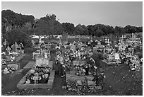 Cemetery at sunset, Rancho de Taos. Taos, New Mexico, USA ( black and white)