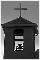 Bell tower at sunset, San Francisco de Asisis church, Rancho de Taos. Taos, New Mexico, USA (black and white)