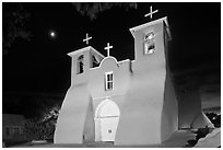 Church San Francisco de Asisis at night, Rancho de Taos. Taos, New Mexico, USA ( black and white)