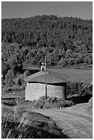 Rural church with adobe walls and tin roof. New Mexico, USA ( black and white)